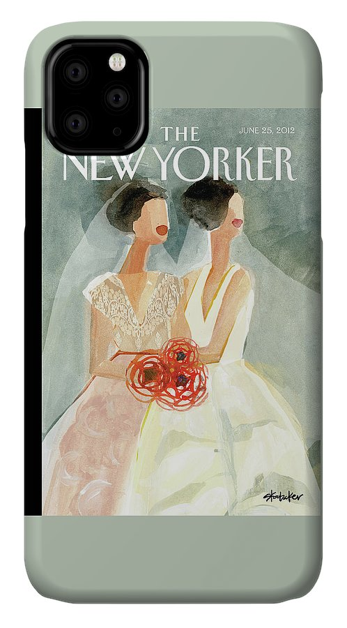 June Brides IPhone Case featuring the painting June Brides by Gayle Kabaker