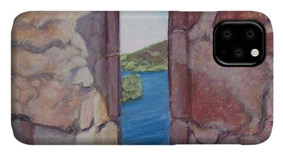 Loch Ness IPhone Case featuring the painting Archers' Window Urquhart Ruins Loch Ness by Laurie Morgan