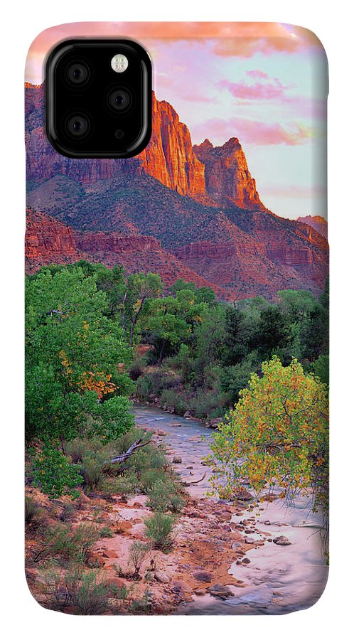 America IPhone 11 Case featuring the photograph Usa, Utah, Zion National Park At Sunset by Jaynes Gallery