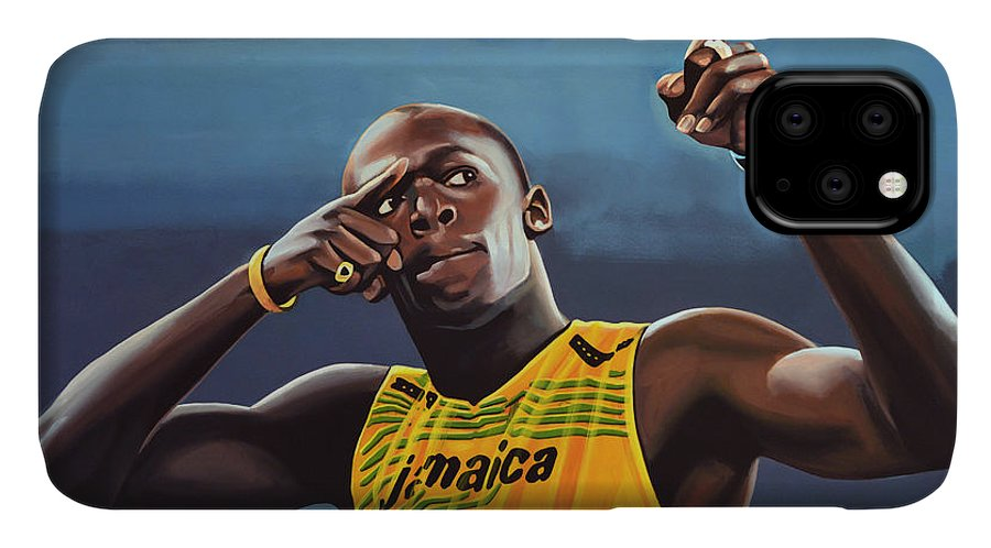 Usain Bolt IPhone 11 Case featuring the painting Usain Bolt Painting by Paul Meijering