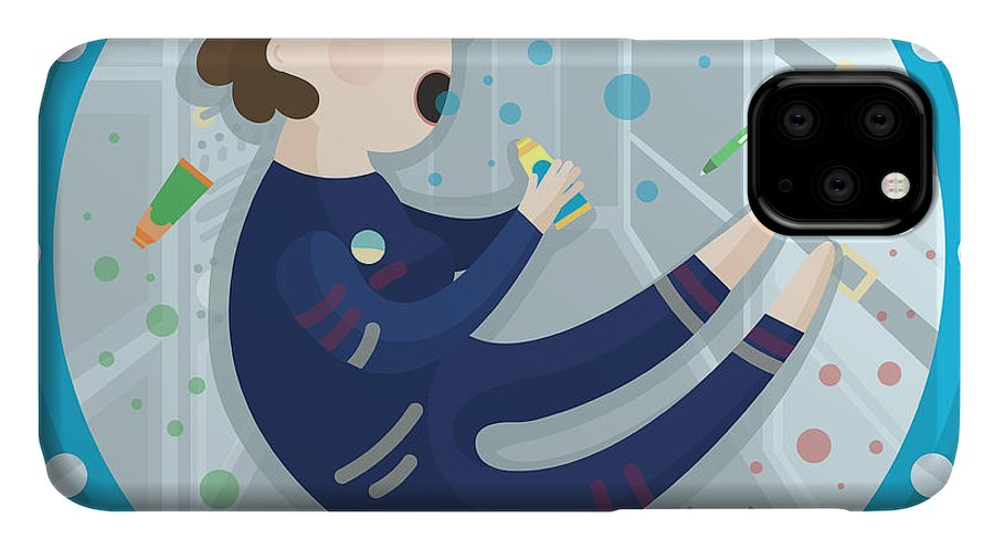 Fi IPhone Case featuring the digital art Vector Illustration Of An Astronaut by Evasabrekova