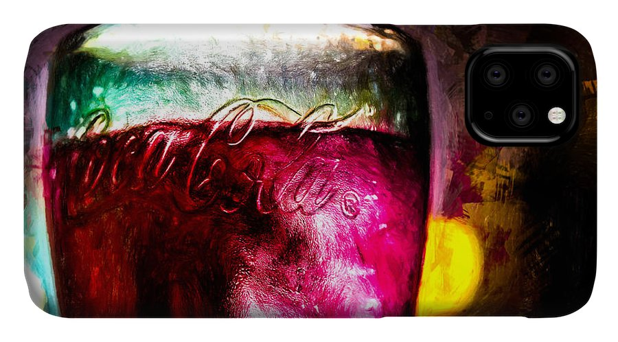 Coke IPhone Case featuring the painting Vintage Coca Cola Glass With Ice by Bob Orsillo