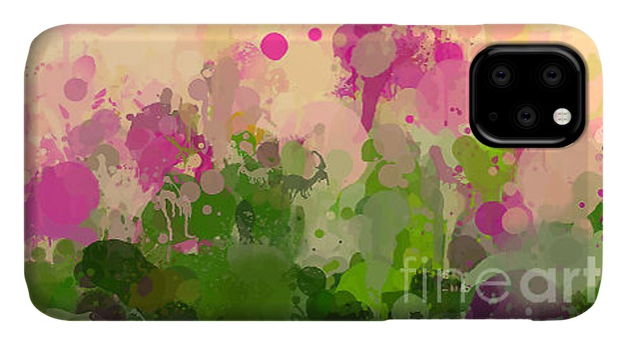 Gouache IPhone Case featuring the digital art Vintage Green And Purple Brush Strokes by Shekaka