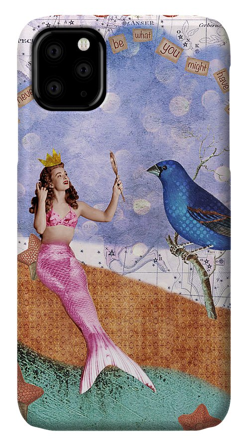 Vintage Collage IPhone Case featuring the digital art Vintage Mermaid Bird Collage by Cat Whipple