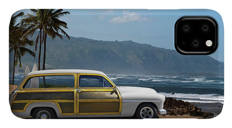 Haleiwa IPhone Case featuring the photograph Vintage Woody On Hawaiian Beach by Ed Freeman