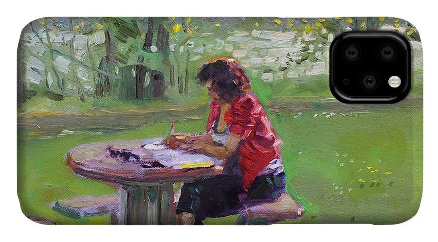 Math Teacher IPhone 11 Case featuring the painting Viola - The Math Teacher by Ylli Haruni
