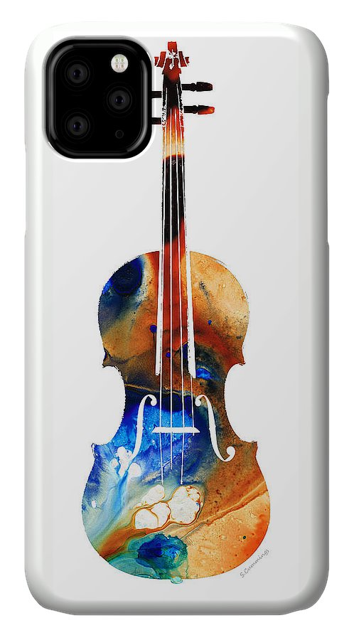 Violin IPhone Case featuring the painting Violin Art By Sharon Cummings by Sharon Cummings