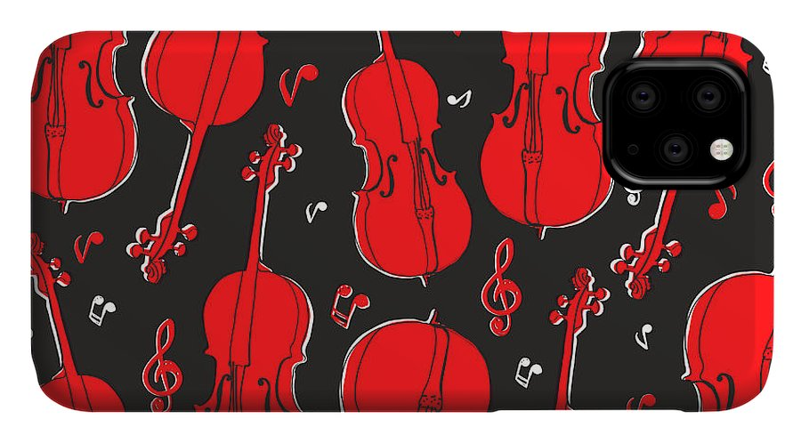 Play IPhone 11 Case featuring the digital art Violin Pattern by Subbery