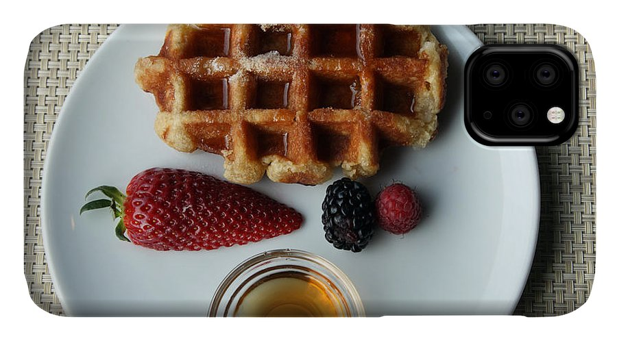 Waffles IPhone 11 Case featuring the photograph Waffles And Maple Syrup by Ros Drinkwater
