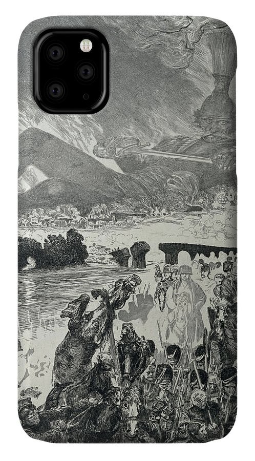 Anti-war IPhone Case featuring the drawing War 1910 by Max Klinger
