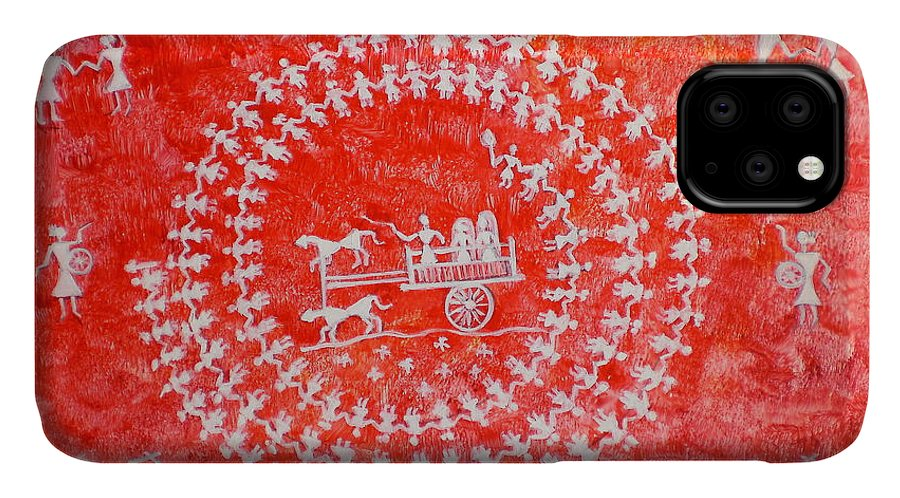 Yupo Paper Wedding Red Tribal Folk Art Painting Carriage Dance Religion India Hindu Drums Pipe IPhone Case featuring the painting Warli Wedding by Manjiri Kanvinde