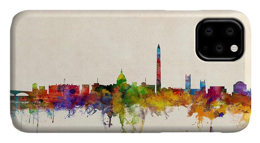 Watercolour IPhone Case featuring the digital art Washington DC Skyline by Michael Tompsett