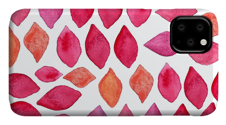 Pink IPhone 11 Case featuring the digital art Watercolor Abstract Seamless Pattern by Ajgul
