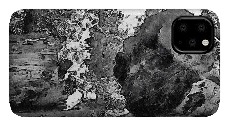 Barbara Snyder IPhone Case featuring the photograph When Giants Fall Black And White by Barbara Snyder