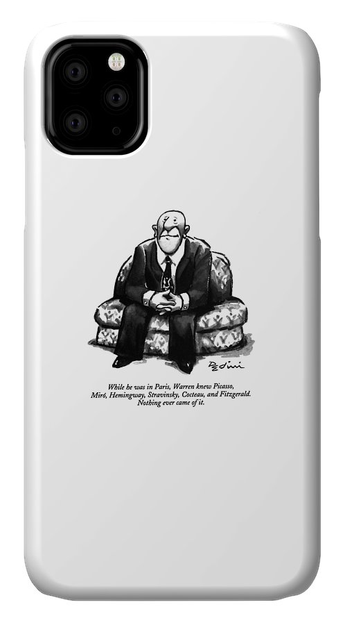 (a Rather Unhappy-looking Man Sits On A Sofa With His Hands Folded) Psychology IPhone Case featuring the drawing While He Was In Paris by Eldon Dedini