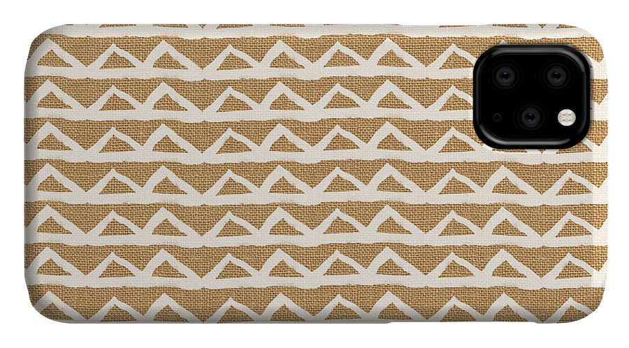 Triangles IPhone Case featuring the mixed media White Triangles On Burlap by Linda Woods