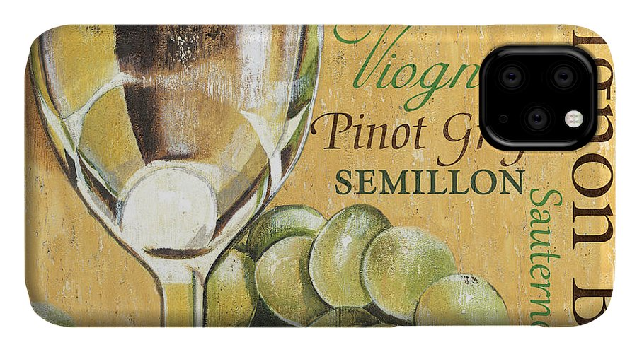 Wine IPhone Case featuring the painting White Wine Text by Debbie DeWitt