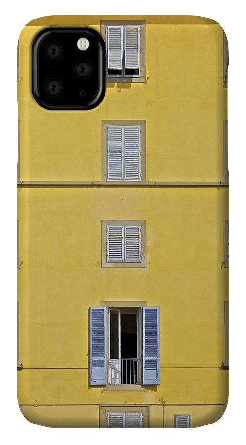 Balcony IPhone 11 Case featuring the photograph Windows Of Florence Against A Faded Yellow Plaster Wall by David Letts