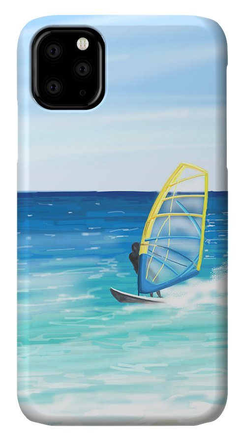 Windsurf IPhone Case featuring the painting Windsurf by Veronica Minozzi