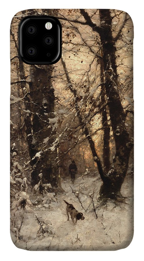 Winter IPhone Case featuring the painting Winter Twilight by Ludwig Munthe
