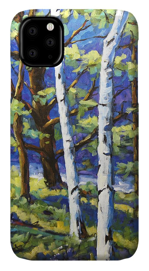 Canadian Landscape Created By Richard T Pranke IPhone 11 Case featuring the painting Woodland Birches by Richard T Pranke