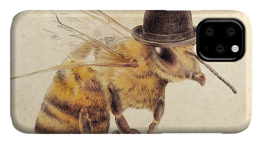 Bee IPhone Case featuring the drawing Worker Bee by Eric Fan