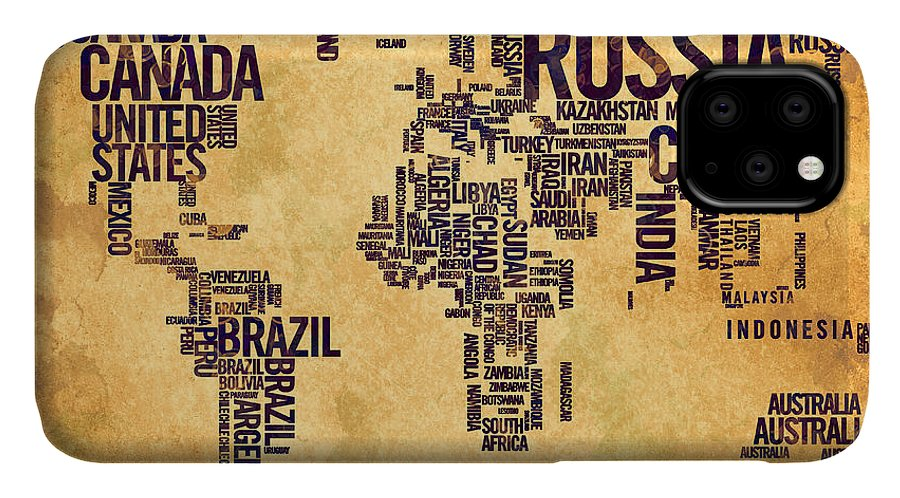 World Map IPhone Case featuring the painting World Map Typography 6 Watercolor Painting by Georgeta Blanaru