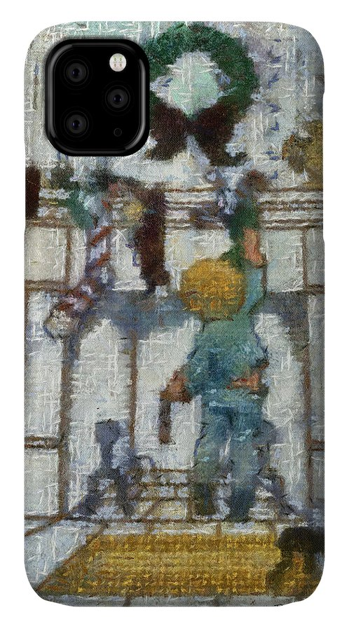 Stocking IPhone 11 Case featuring the photograph Xmas Little Boy With His Stocking Photo Art by Thomas Woolworth