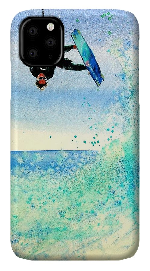 Kiteboarding IPhone Case featuring the painting Xtreme Big Air by Lynee Sapere