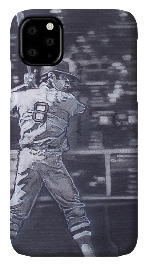 Charcoal On Paper IPhone Case featuring the drawing Yaz - Carl Yastrzemski by Sean Connolly