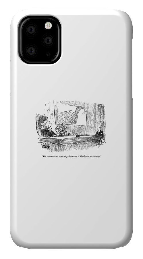 Lawyers IPhone Case featuring the drawing You Seem To Know Something About Law. I Like by Robert Weber