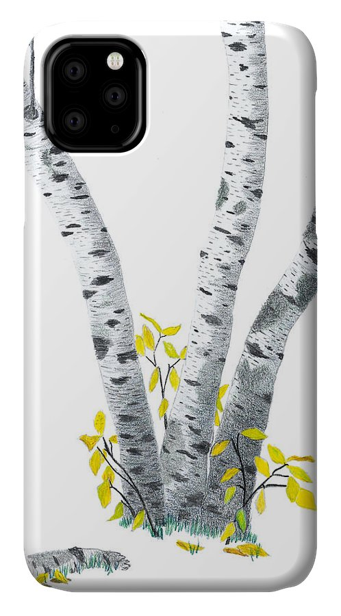 Birches IPhone Case featuring the drawing Birches by Garry McMichael