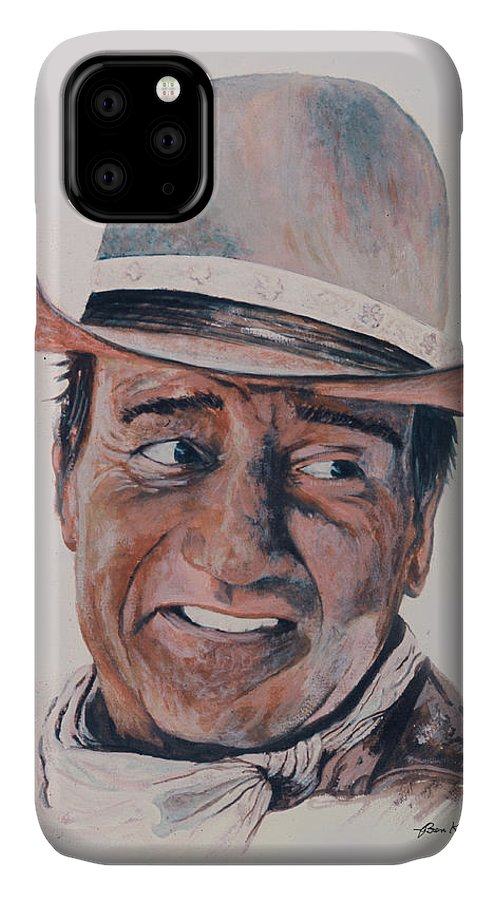 Portrait IPhone Case featuring the painting John Wayne by Ben Kiger