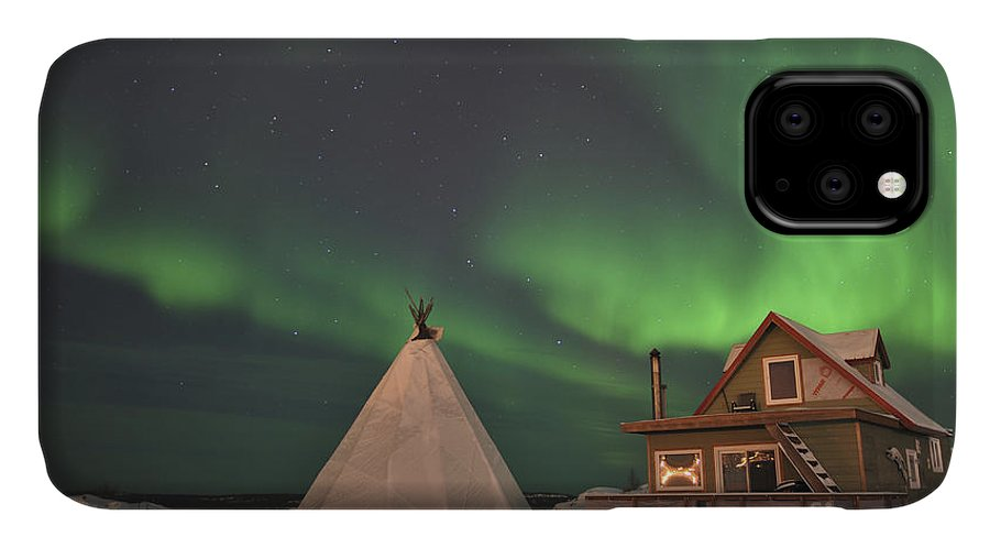 Yellowknife IPhone 11 Case featuring the photograph Northern Lights Above Village by Jiri Hermann