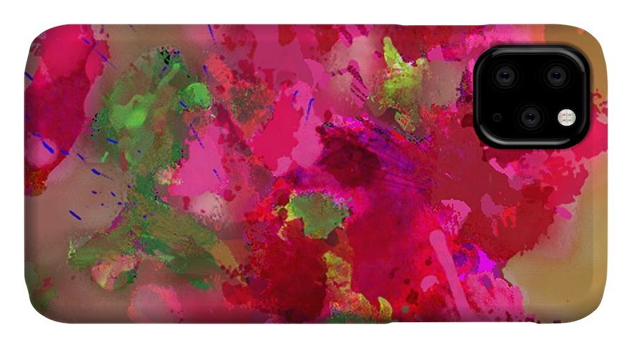 Abstract IPhone Case featuring the painting Abstract Bougainvillea Painting Floral Wall Art by Judy Filarecki