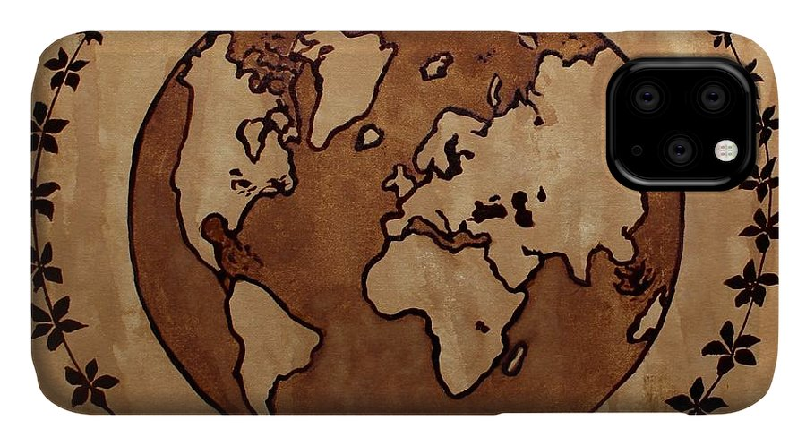 World Map IPhone Case featuring the painting Abstract World Globe Map Coffee Painting by Georgeta Blanaru