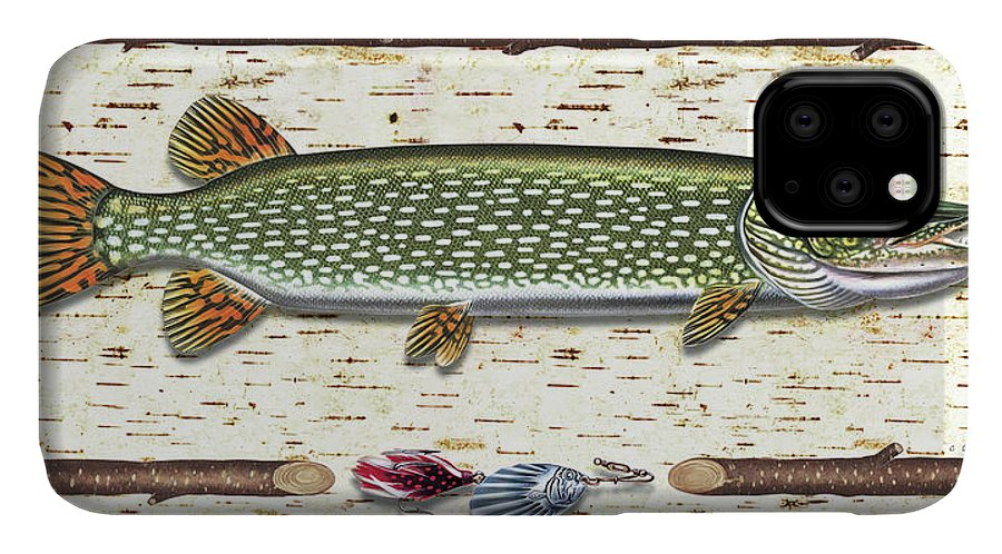 Pike IPhone 11 Case featuring the painting Antique Birch Pike And Lure by JQ Licensing