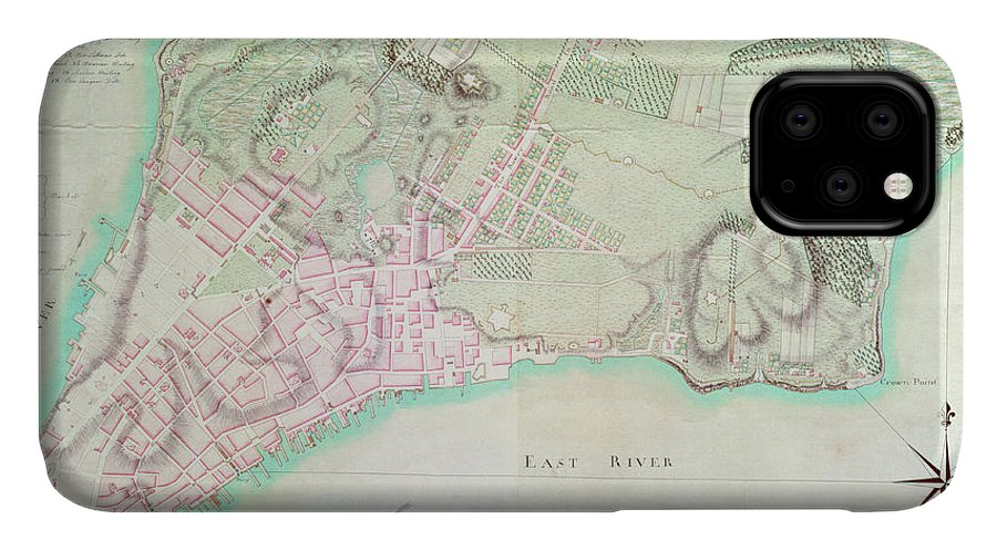 Maps IPhone Case featuring the drawing Antique Map Of New York by English School