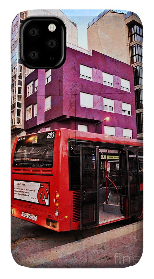 Bus Stop IPhone 11 Case featuring the photograph Bus Stop - La Coruna by Mary Machare