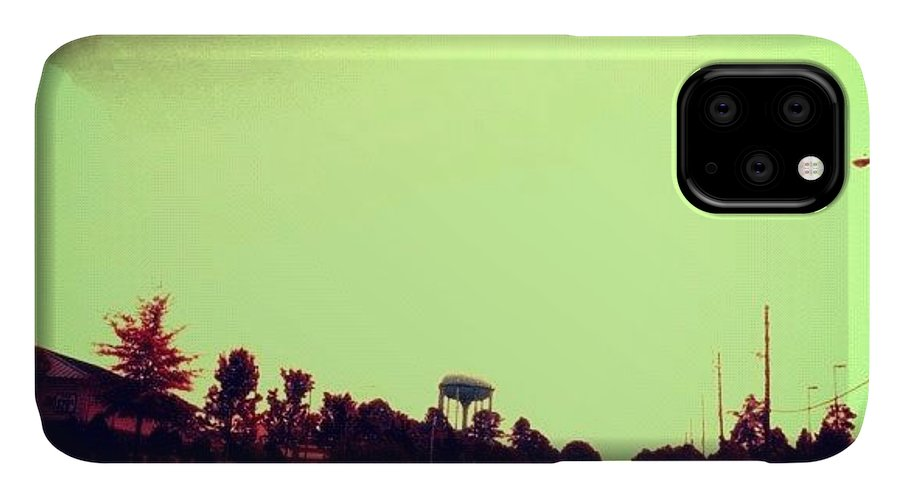 Cary IPhone Case featuring the photograph #cary #driving #sky #red #watertower by Katie Williams