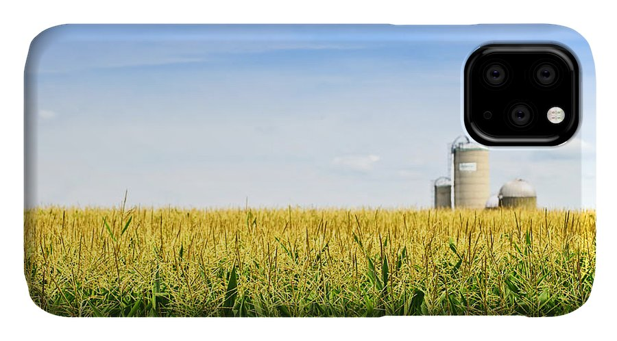 Agriculture IPhone 11 Case featuring the photograph Corn Field With Silos by Elena Elisseeva
