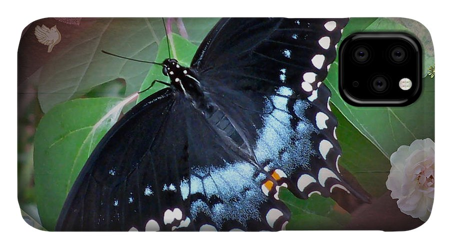 Design Natural Butterfly IPhone Case featuring the photograph Designed Natural Butterfly by Debra   Vatalaro