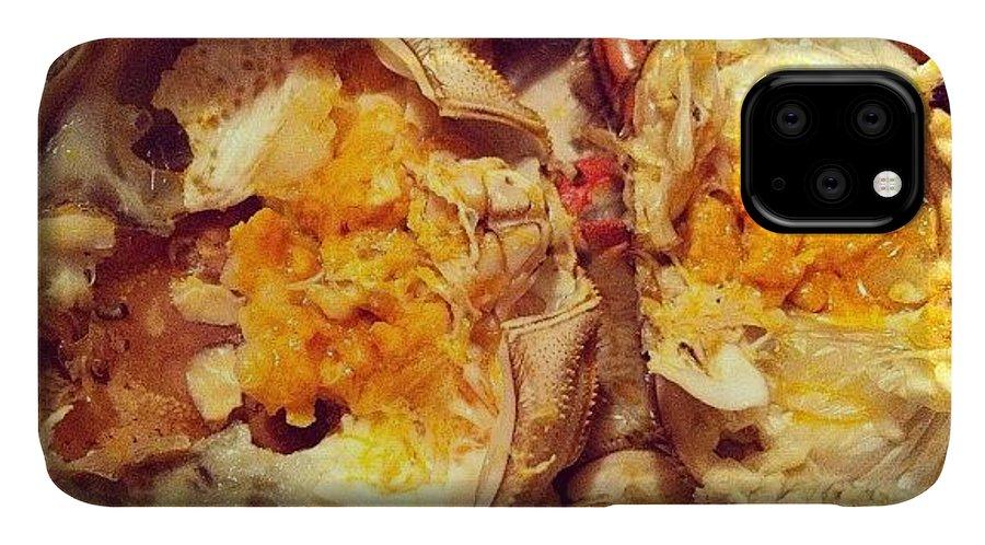 Shanghaicrab IPhone 11 Case featuring the photograph #hairycrab #shanghaicrab #crab #seafood by TC Li