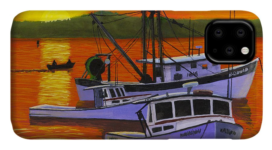 Maine IPhone 11 Case featuring the painting Maine Fishing Boats At Sunset Port Clyde Painting by Keith Webber Jr