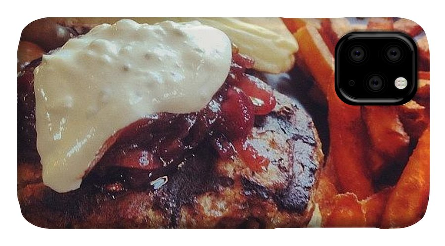 Lamb IPhone Case featuring the photograph Medium Rare Lamb Burger With Sweet by Jonathan Bouldin