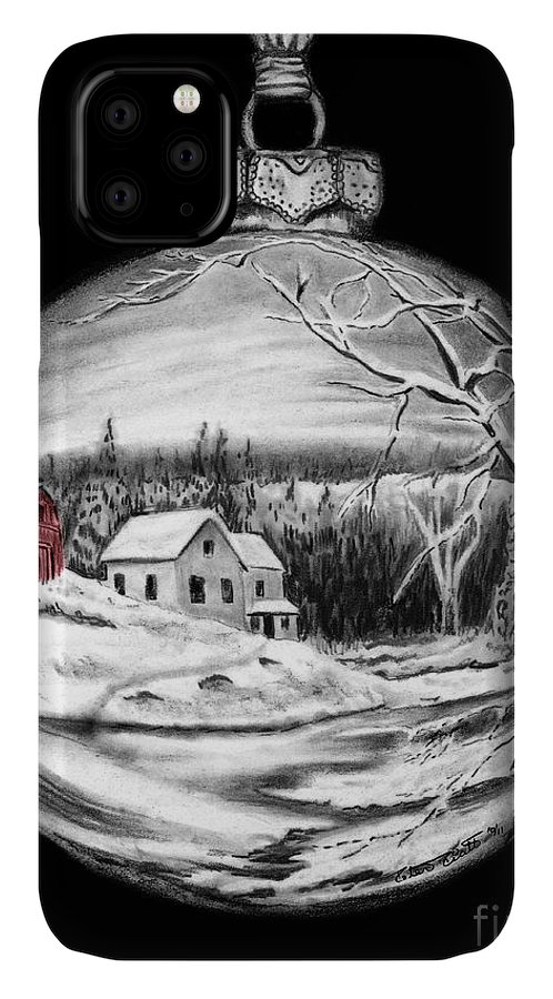 Red Barn IPhone 11 Case featuring the drawing Red Barn Winter Scene Ornament by Peter Piatt