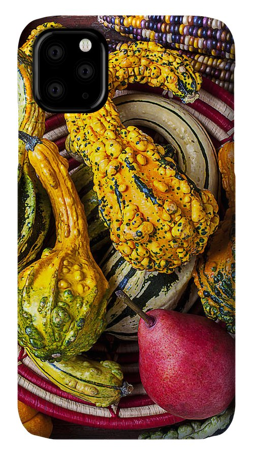 Red Pear IPhone Case featuring the photograph Red Pear And Gourds by Garry Gay