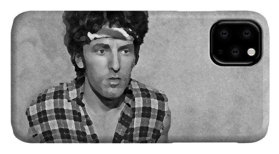 Bruce Springsteen IPhone Case featuring the photograph The Boss BW by David Dehner