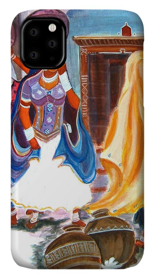 Tribal IPhone Case featuring the painting Water Belles by Manjiri Kanvinde