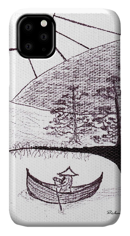 Abstract IPhone Case featuring the painting Zen Sumi Asian Lake Fisherman Black Ink On White Canvas by Ricardos Creations